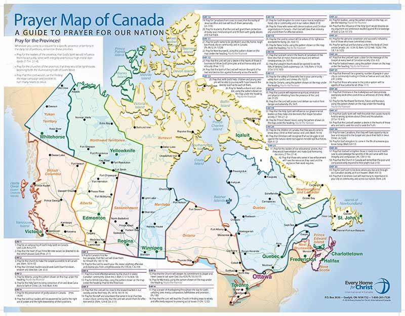 An image of the Prayer Map of Canada.
