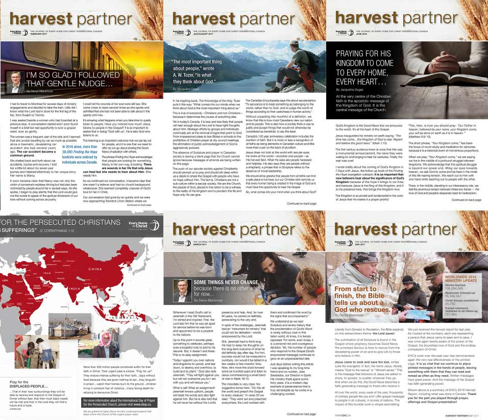 A small collage of Harvest Partner newsletters over the years.