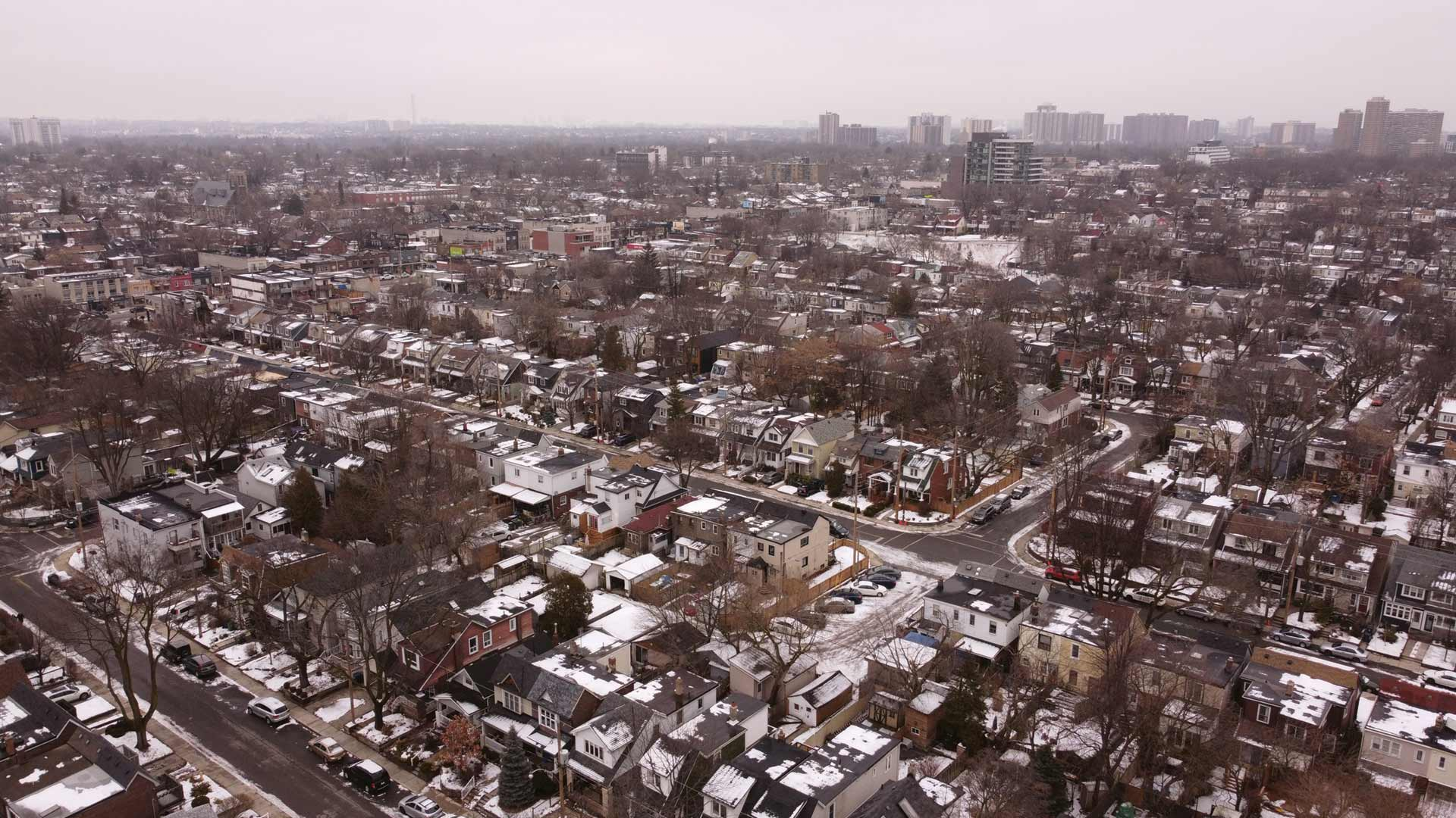 Overhead view of a Canadian suburb in winter.